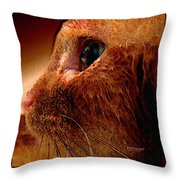 Gold Cat Profile Throw Pillow