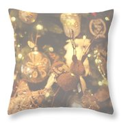 Gold Christmas Tree Decorations Throw Pillow