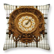 Gold Clock Paris France Throw Pillow