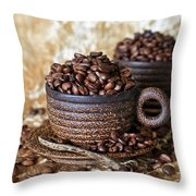 Gold Coffee Throw Pillow by Tracy Hall