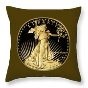 Gold Coin Front Throw Pillow