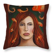 Gold Fish 9 Throw Pillow