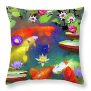 Gold Fish And Water Lily Pads Throw Pillow
