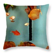 Gold Fish Life Throw Pillow