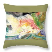 Gold Fish With Purple Throw Pillow