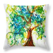Gold Heart Valentine Tree Watercolor N Ink Throw Pillow