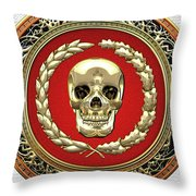 Gold Human Skull Over White Leather  Throw Pillow