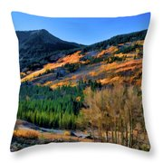 Gold In The Rockies Throw Pillow