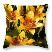 Gold Lilly Throw Pillow