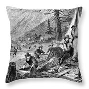 Gold Mining, 1853 Throw Pillow
