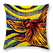 Gold Orchid Throw Pillow