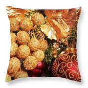 Gold Ornaments Holiday Card Throw Pillow