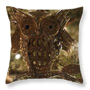 Gold Owl Throw Pillow