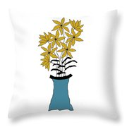 Gold Pointed Flowers Throw Pillow