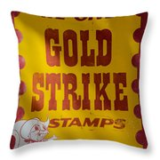 Gold Strike Stamps Throw Pillow