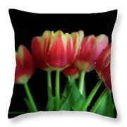Gold Tip Tulips Throw Pillow by Tracy Hall
