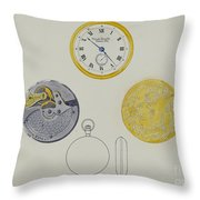 Gold Watch With Frame And Case Throw Pillow