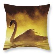 Golden African Swan Throw Pillow