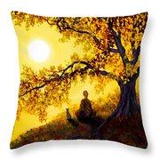 Golden Afternoon Meditation Throw Pillow