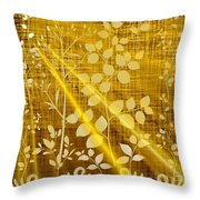 Golden And White Leaves Throw Pillow