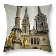 Golden Angel Statues In Front Of The Cathedral Throw Pillow