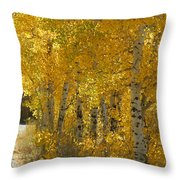 Golden Aspen Throw Pillow