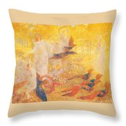Golden Autumn Fairy Tale Throw Pillow