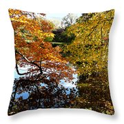 Golden Autumn Trees Throw Pillow