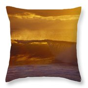 Golden Backlit Wave Throw Pillow