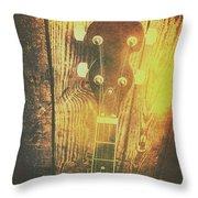 Golden Banjo Neck In Retro Folk Style Throw Pillow