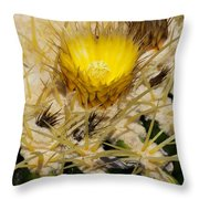 Golden Barrel Blossom Throw Pillow