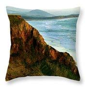 Golden Beach Cliff Side  Painterly Throw Pillow