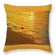 Golden Beach Sunset Throw Pillow