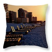 Golden Benches Throw Pillow
