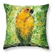 Golden Bird Throw Pillow