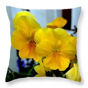 Golden Blooms Beside The Porch Throw Pillow