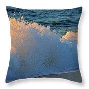 Golden Blue Splash Throw Pillow