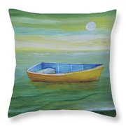 Golden Boat In The Green Lagoon Throw Pillow