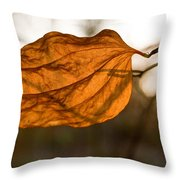 Golden Briar Leaf Throw Pillow