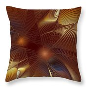 Golden Bronze Swirl Throw Pillow