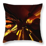 Golden Brown Abstract Throw Pillow