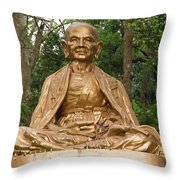 Golden Buddhist Monk Throw Pillow