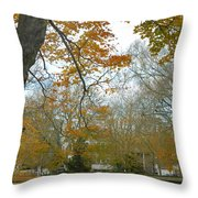 Golden Bus Stop Late Autumn Throw Pillow