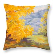 Golden California Sycamores Throw Pillow