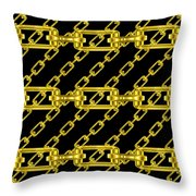 Golden Chains With Black Background Seamless Texture Throw Pillow