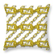 Golden Chains With White Background Seamless Texture Throw Pillow