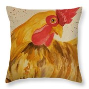 Golden Chicken Throw Pillow
