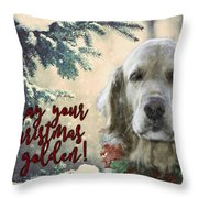 Golden Christmas Throw Pillow