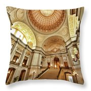 Golden City Hall Throw Pillow