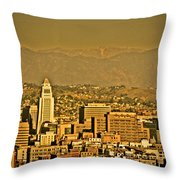 Golden City Hall La Throw Pillow